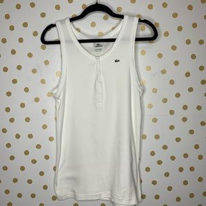 Lacoste Ribbed Snap Front Tank Top